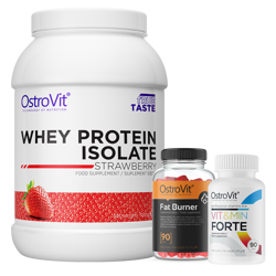 OstroVit Whey Protein Isolate 700 g + Fat Burner 90 caps + Vit&Min 90 tabs